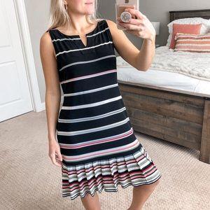 White House Black Market Stripe Pleated Dress M